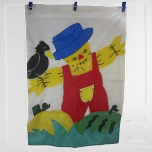 Vintage House Garden flag scarecrow 1990s 28x40